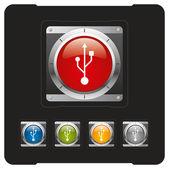 USB futuristic button — Stock Vector