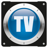 TV blue button — Stock Photo