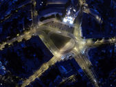 Intersection from above at night — Stock Photo