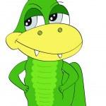Cartoon lächelnd Schlange, Eidechse Zeichen isoliert auf weißem Hintergrund — Stockvektor