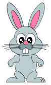 Cartoon smiling easter bunny character illustration isolated on white background — Stock Vector