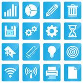 Negocios, comercio electrónico, web y tiendas iconos situado en estilo moderno — Vector de stock