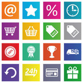 Business, e-commerce, web and shopping icons set in metro style — Stock Vector