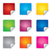 Price, promotion or bestseller vector blank stickers with different colors — Vecteur