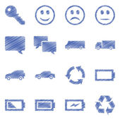 Business, technology, e-commerce, web and shopping ballpen drawn icons set paper style — Stockvektor