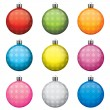Christmas baubles, different colors and patterns, isolated on white background — Stock Vector