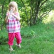 Little girl drinking water — Vídeo de stock