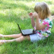 Little girl with laptop — Stock Video