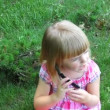 Little girl talking on the phone — Stock Video