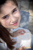 Young girl in her First Communion — Foto Stock