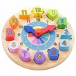 Colourful toy wooden clock — Stockfoto