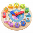 Colourful toy wooden clock — Stock Photo
