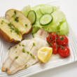 Baked fish fillet meal — Stock Photo