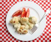 Cauliflower cheese high angle — Stock Photo