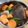 Pot roast with sweet potato — Stock Photo
