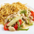 Shredded chicken and noodles — Stock Photo