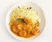 Prawn korma high angle — Stock Photo