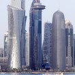 Dhow and Doha towers - Stock Photo