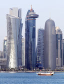 Dhow and Doha towers — Stock Photo