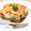 Stock Photo: Homemad lasagne side view