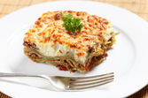 Homemad lasagne side view — Stock Photo