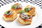Vol au vents on a plate — Stock Photo