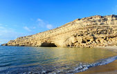 Cliffs at Matala on Crete — Stock Photo