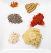 Platta av kryddor och andra smaksättningsmedel — Stockfoto