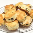 Fruit scones cooling on a rack — Stock Photo