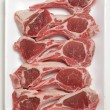 Lamb chops on a tray — Stock Photo