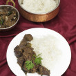 Kerala liver fry with rice — Stock Photo