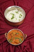 Rogan josh and rice from above — Stok fotoğraf