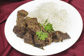 Meal of Indian fried liver — Stock Photo