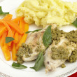 Stock Photo: Chicken with pesto and veg