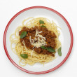Spaghetti bolognese from above — Stock Photo