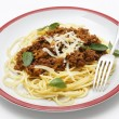 Spaghetti bolognese side view — Stock Photo