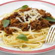 Stock Photo: Spaghetti bolognese with fork