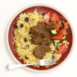 Stock Photo: Beef madras meal from above