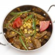 Lamb curry in kadai bowl — Stock Photo
