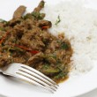 Spiced lamb curry meal with fork — Stock Photo