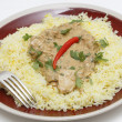 Chicken pasanda on saffron rice side view — Stock Photo
