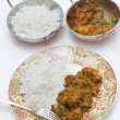 Methi chicken meal and bowls vertical — Stock Photo