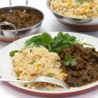 Methi gosht and tomato biriyani meal — Stock Photo