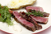 Wagyu beef sliced with salad and potato — Stock Photo