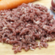 Raw mince with onions and carrots — Stock Photo