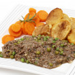 Plate of mince and peas with carrots and potato — Stock Photo