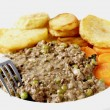 Minced beef and peas dinner high key — Stock Photo