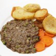 Mince with peas meal high angle view — Stock Photo