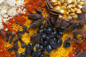 Star anise cloves and black beans — Stock Photo