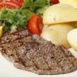 Stock Photo: Pan-fried minute steak meal